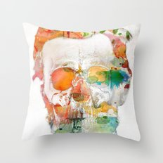 Abraham (Abe) Lincoln Skull Watercolor Throw Pillow