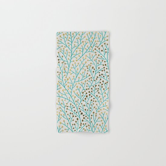 Berry Branches – Turquoise & Gold Hand & Bath Towel