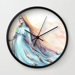 """Imperial Waves"" Watercolour Surrealism Pressure Wall Clock"