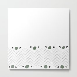 Olive Green Graphic Arrow Pattern Metal Print