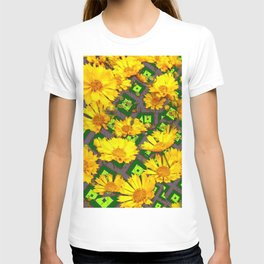 Rich Golden Yellow  Coreopsis Flowers Green Modern Art T-shirt