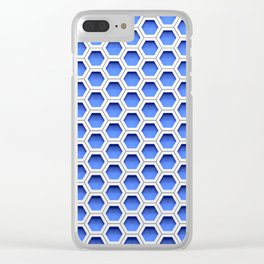 Blue white honeycomb hexagons Clear iPhone Case