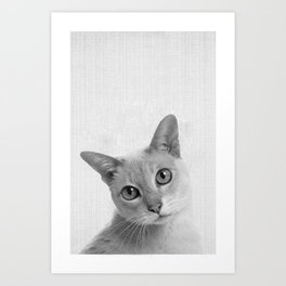 Cat Sad Face Portrait Art Print