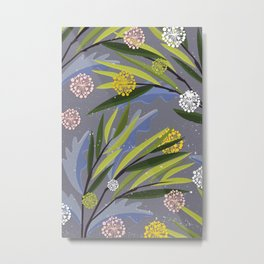 Romantic Floral Branches with leaves Pattern Metal Print