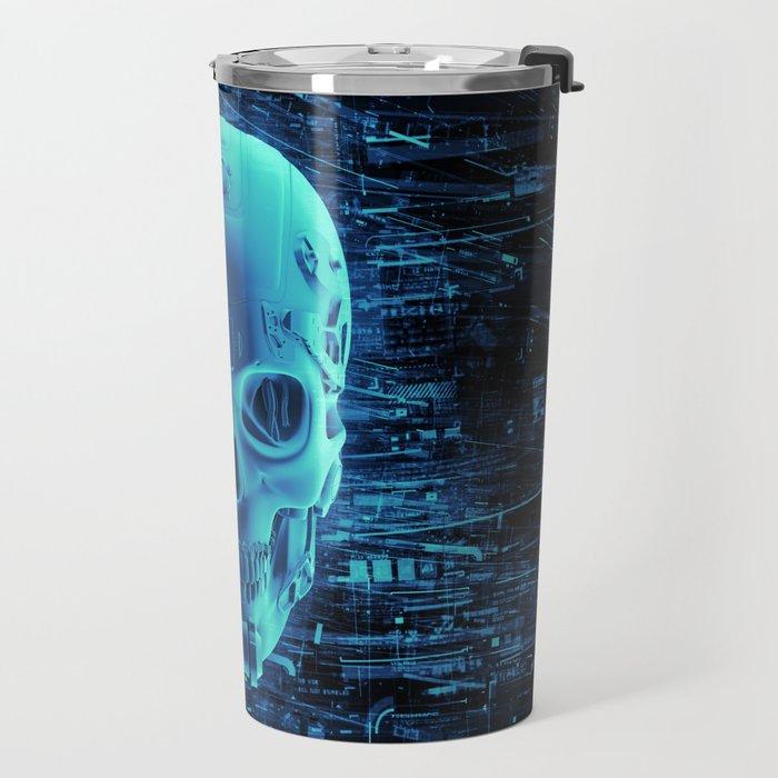Gamer Skull BLUE TECH / 3D render of cyborg head Travel Mug