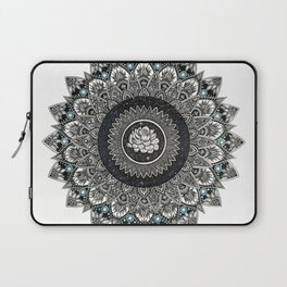 Black and White Flower Mandala with Blue Jewels Laptop Sleeve