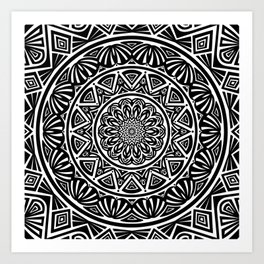 Black and White Simple Simplistic Mandala Design Ethnic Tribal Pattern Art Print