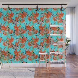 Tigers and Tiger Lilies (Blue Background) Wall Mural