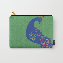 Colorful Peacock Art Print With Mandala Design Background Carry-All Pouch