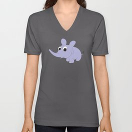 Baby Elephant Cartoon Kids Animal Motif Unisex V-Neck