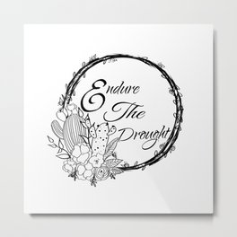 Cute Cacti Calligraphy Metal Print