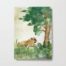 Watercolor Painting of Female Lion Metal Print