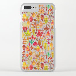 Red gold brown watercolor Autumn leaves pattern Clear iPhone Case