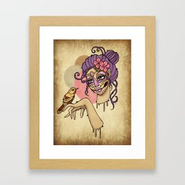 Cute Candy Skull Girl with Bird Framed Art Print