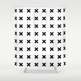 BLACK CROSS ON WHITE BACKGROUND Shower Curtain