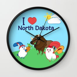 Ernest and Coraline | I love North Dakota Wall Clock