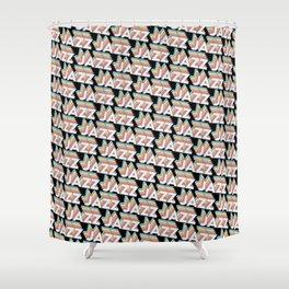 Jazz Trendy Rainbow Text Pattern (Black) Shower Curtain