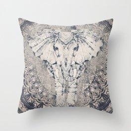 Indian Elephant Mandala Throw Pillow