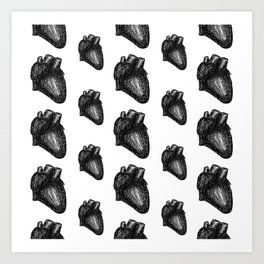 Anatomical Hearts - Black and White Art Print