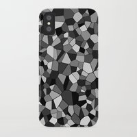 gray pattern iPhone & iPod Cases featuring Gray Monochrome Mosaic Pattern by Margit Brack
