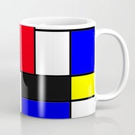 Red Blue Yellow Geometric Squares Coffee Mug
