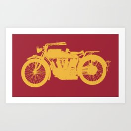 Antique Motorcycle // Red-Gold Art Print
