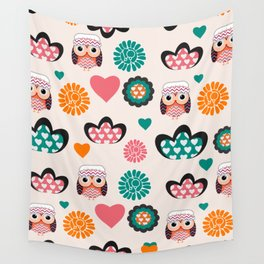 Owls and hearts Wall Tapestry