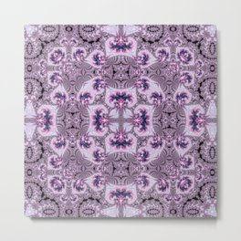 Pink and Purple Fractal Kaleidoscope Metal Print