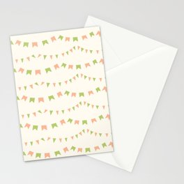 Summer Party Banner Flags Illustrated Print in Peach and Green Stationery Cards