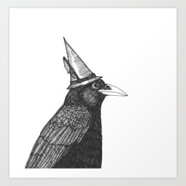Willem Dacrowe Crow Wearing a Witch's Hat Art Print