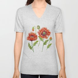 Watercolor Fringed Red Poppies Unisex V-Neck