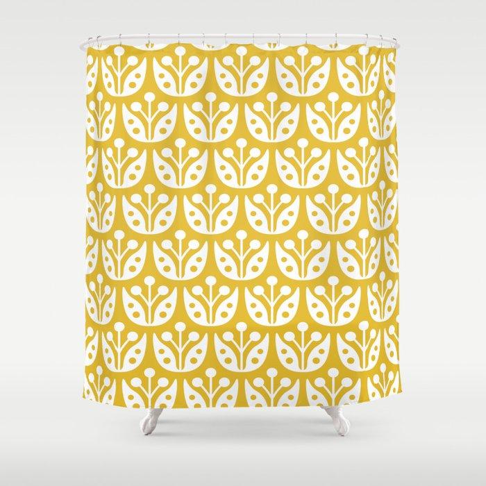 Mid Century Modern Flower Pattern Mustard Yellow Shower Curtain