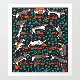 Dachshund year - lettering pattern Art Print