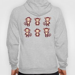 pattern with funny brown monkey boys and girls on white background. Vector illustration Hoody