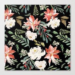 Christmas Poinsettias & White Roses Pattern Canvas Print