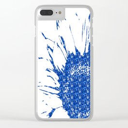 Sparkley Blue Flower Clear iPhone Case