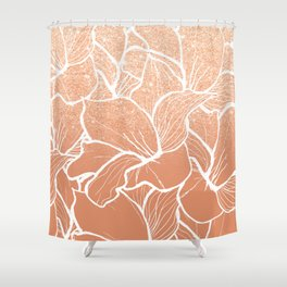 Modern copper tan terracotta glitter ombre color block white floral pattern illustration Shower Curtain