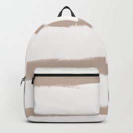 Medium Brush Strokes Horizontal  Nude on Off White Backpack