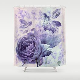 roses and ivy in purple Shower Curtain