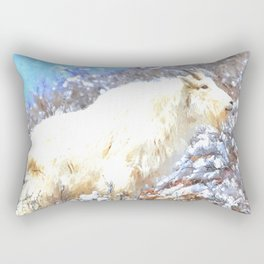 Mountain Goats In the Alpine Wyoming Mountain - Rocky Mountain Goat Rectangular Pillow