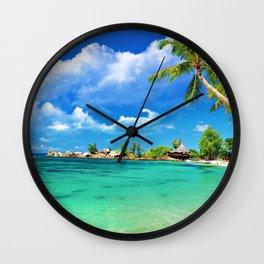 tropical islands beach palm trees ocean Wall Clock