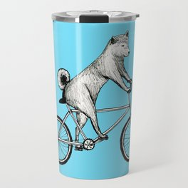 Shiba Inu Riding a Bicycle Travel Mug