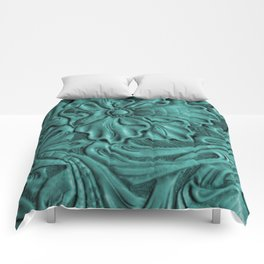 Teal Flower Tooled Leather Comforters