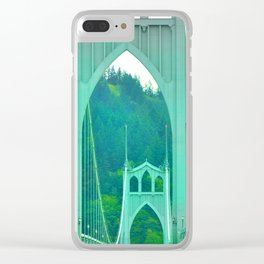 St. Johns Bridge Portland Oregon Clear iPhone Case