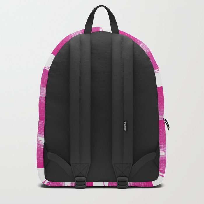 Simply handrawn pink stripes on white background Backpack