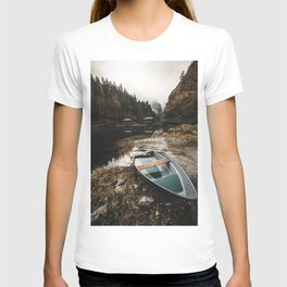 lonely fisher Boat at a little Lake in the austrian Alps T-shirt