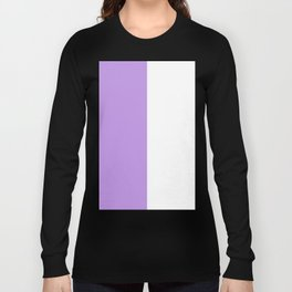 White and Light Violet Vertical Halves Long Sleeve T-shirt