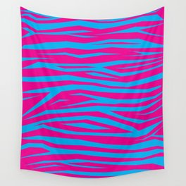 Pink And Blue Animal Stripes Wall Tapestry