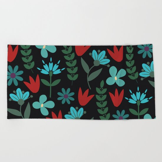 Flower Pattern XV Beach Towel