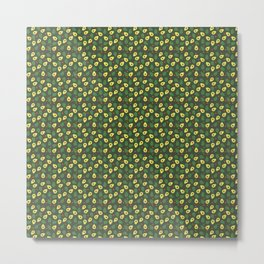 Green and Cream Avocados Pattern on Olive Green Metal Print